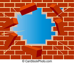 broken brick wall with hole and sky - illustration broken...