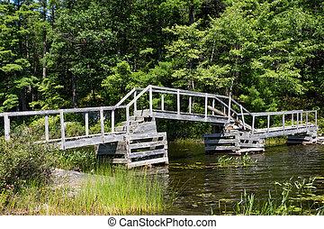 Broken bridge over the river