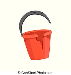 Broken bucket, recycling garbage concept, utilize waste vector Illustration isolated on a white background.