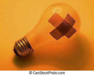 "Broken bulb - A ""broken"" light bulb with 2 bandaids on it...."