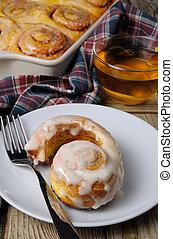 bun of pumpkin with cinnamon