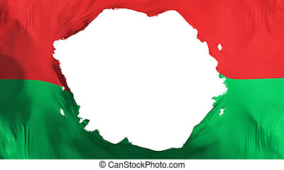 Broken Burkina Faso flag, white background, 3d rendering