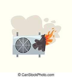 Broken burning air conditioner, damaged home appliance cartoon vector Illustration on a white background