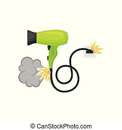 Broken burning hair dryer, damaged home appliance vector Illustration on a white background