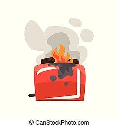 Broken burning toaster, damaged home appliance cartoon vector Illustration on a white background