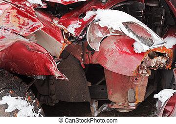 broken car after winter traffic accident