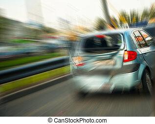broken car, blurry motion