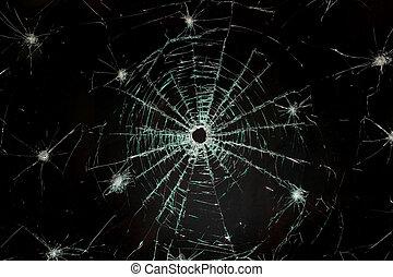 Broken car glass of windscreen - There is a broken car glass...