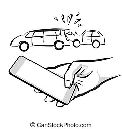 Broken Car Insurance Concept Sketch