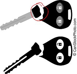 Broken Car Key with Alarm Vector Illustration