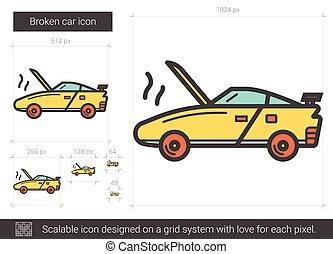 Broken car line icon.