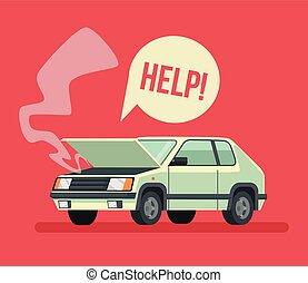 Broken car. Road accident