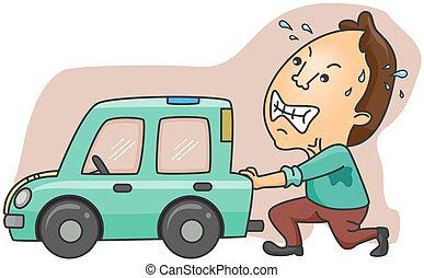 Broken Car - Man Pushing Broken Car with clipping path