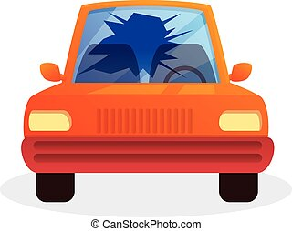Broken car window icon, cartoon style