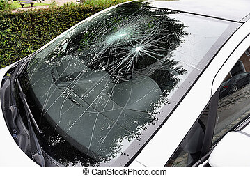 Broken Car Windshield from outside the car