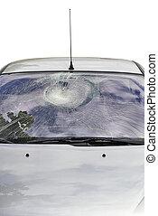 Broken Car Windshield isolated