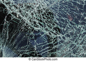 Cracked glass - Broken car windshield made of laminated...