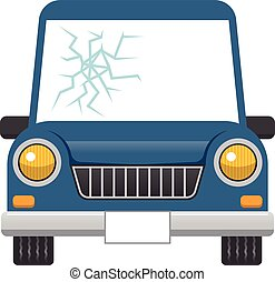 Broken car windshield - Vector illustration.Original...