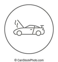 Broken car with open hood line icon. - Broken car with open...