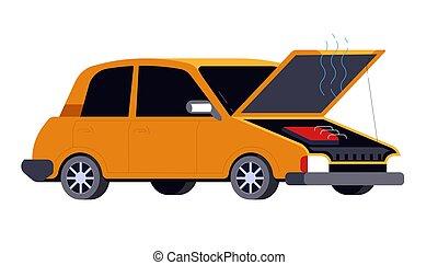 Broken car with open hood, road accident or crash - Car ...