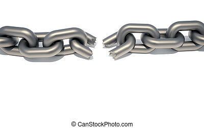 Broken chain - Conceptual chain with a broken link ...
