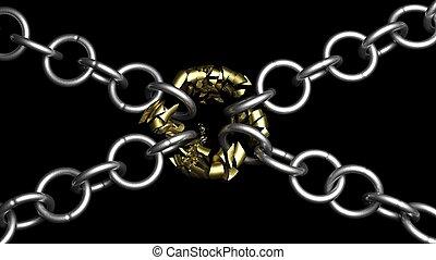 Broken chain connection, 3d illustration on black background