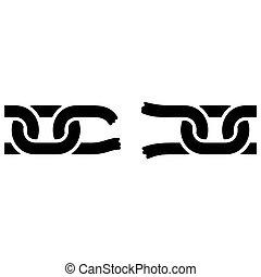 Broken Chain Icon on White Background. Vector