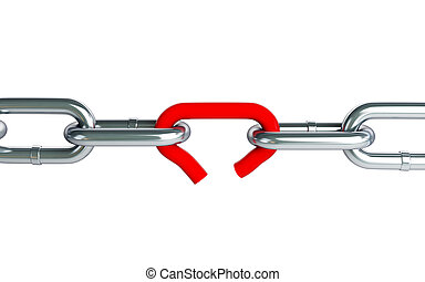 Broken chain link chain on a white background