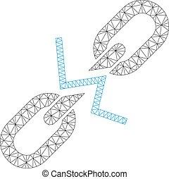 Broken Chain Link Polygonal Frame Vector Mesh Illustration