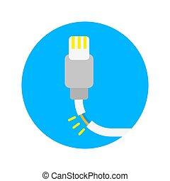 Broken charger - Minimal flat icon logo broken damage don't...
