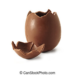 Broken Chocolate Easter egg - Chocolate easter egg with the...