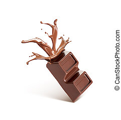 broken chocolate, from which flows chocolate, isolated on a white background