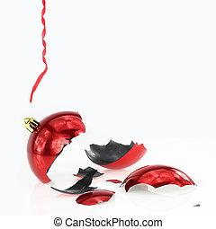 Broken Christmas red ball