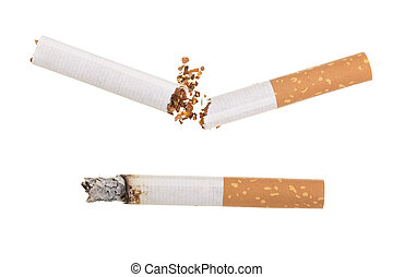 Broken cigarette isolated on white background. Top view