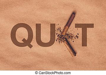 Broken cigarette top view, quit smoking concept