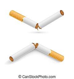 Broken Cigarettes - Two white broken cigarette on a white...