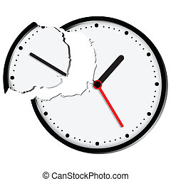 Broken clock  Illustration of a clock or watch with parts scattered