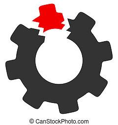 Broken Cog Raster Icon - Raster broken cog illustration. An ...