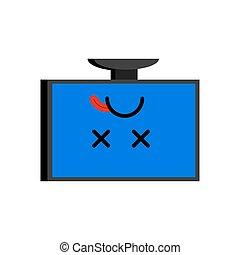 Broken computer. Dead PC Emoji. Blue screen of death. Vector illustration