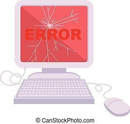 broken computer graphic icon - broken computer graphic...