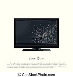 Broken computer monitor. The screen cracked.