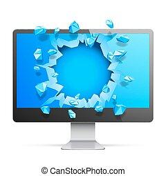 Broken Computer Monitor - Modern computer monitor with...