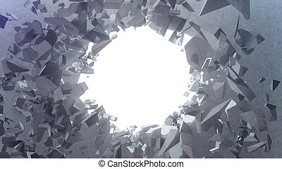 Broken concrete wall into small pieces. Cracked earth, abstract background with volume light rays in hole. Explosion, destruction, broken, concrete wall. Isolated on white background. 3D Rendering