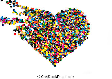 Broken confetti heart - Variegated confetti heart isolated...