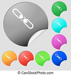 Broken connection flat single icon. Set of eight multi colored round buttons, stickers. Vector