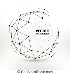 Broken connection network 3d polygon wireframe sphere technology vector illustration