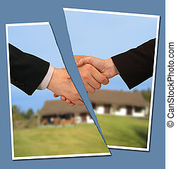 broken contract - torn photograph of people shaking hands...