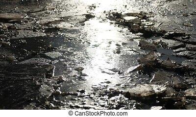 broken crack frozen the ice frozen water nature landscape -...