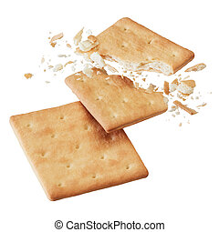 crackers - broken crackers or biscuits isolated on white