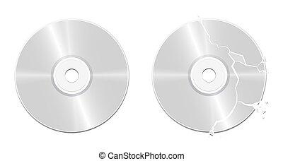 Broken Damaged Intact CD Compact Disc - Intact CD and broken...